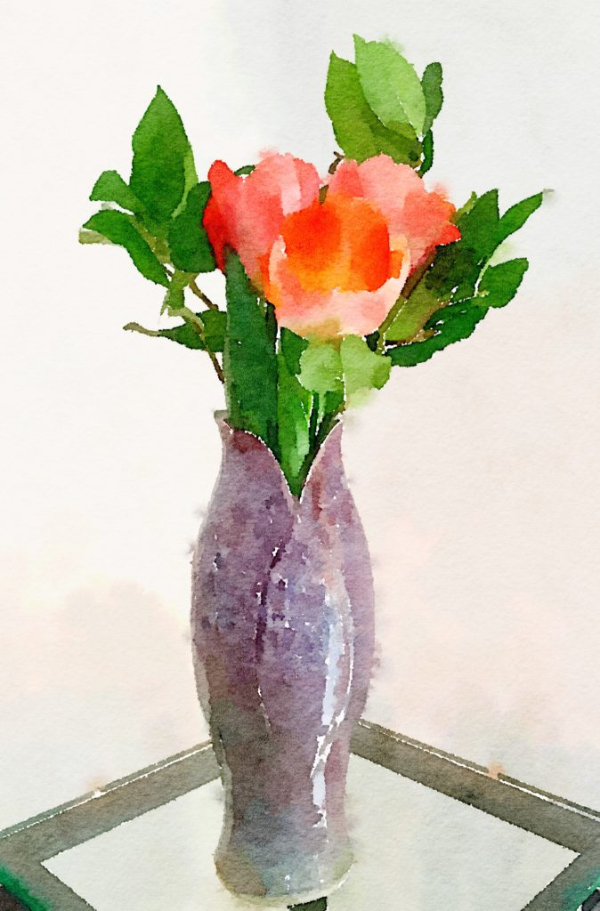 Week Five: Peachy Tulips in a Purple Ceramic Vase