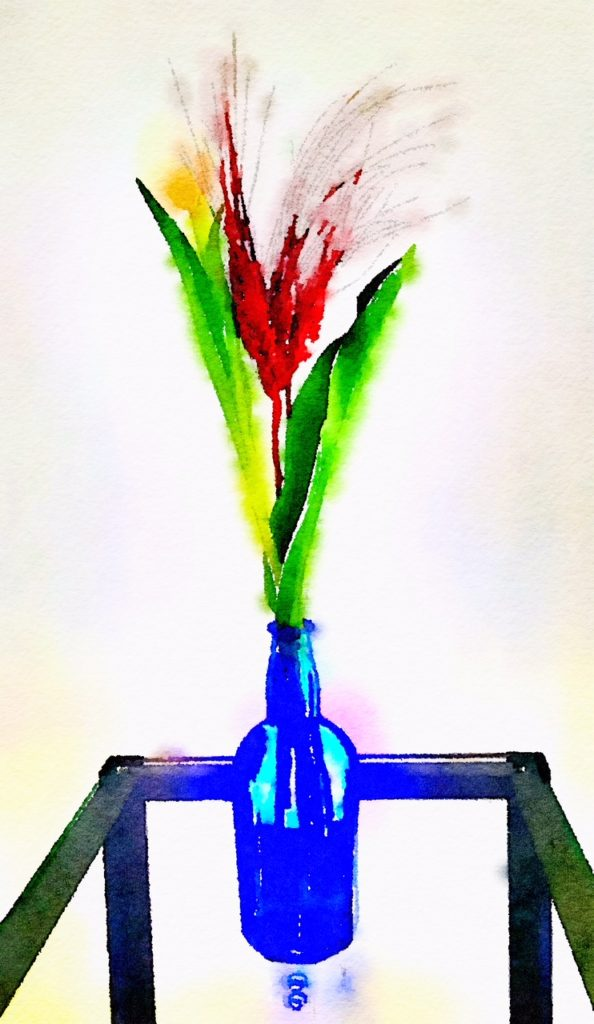 Week Six: Yellow Tulip and Red Feathers in a Blue Vase