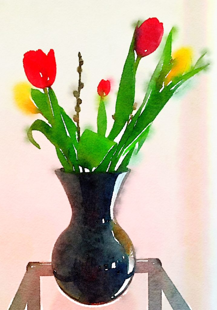 Week Six: Red and Yellow Tulips in a Bulbous Black Vase