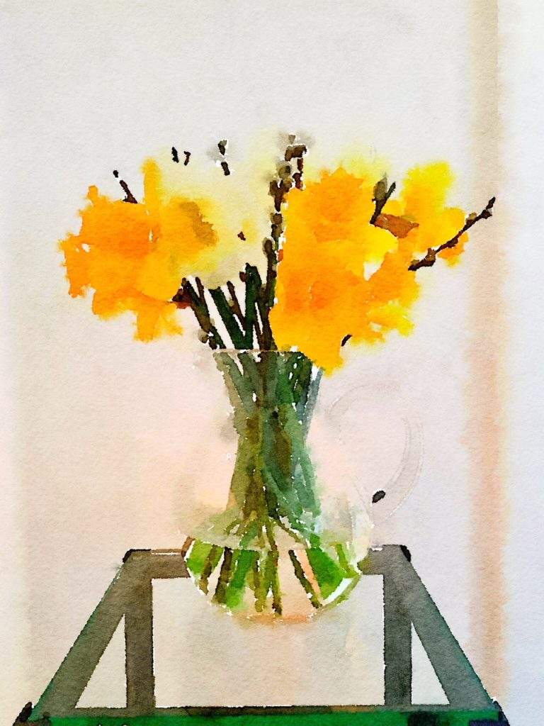 Week Five: Daffodil and Pussy Willows in a Glass Pitcher