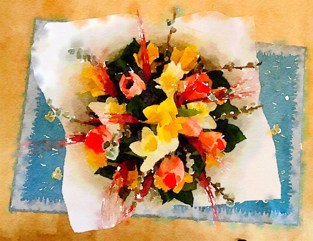 Week Five: Fresh Flowers from the Pike Place Market in Waterlogue