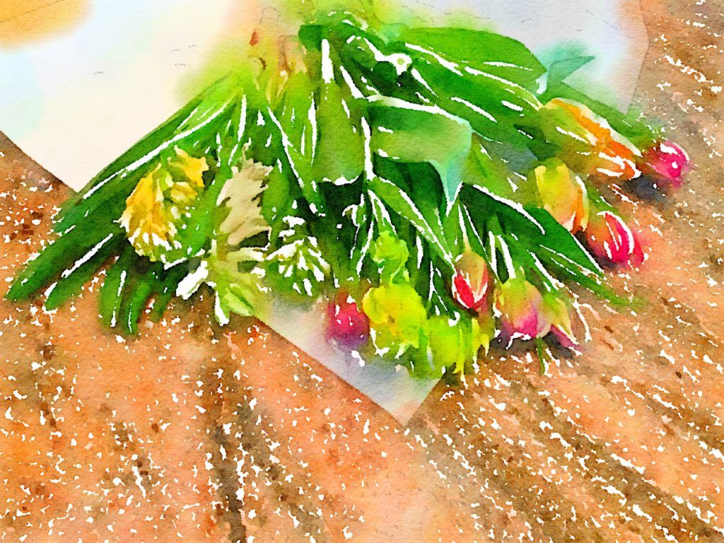 Week Four: Fresh Pike Place Market Flowers in Waterlogue