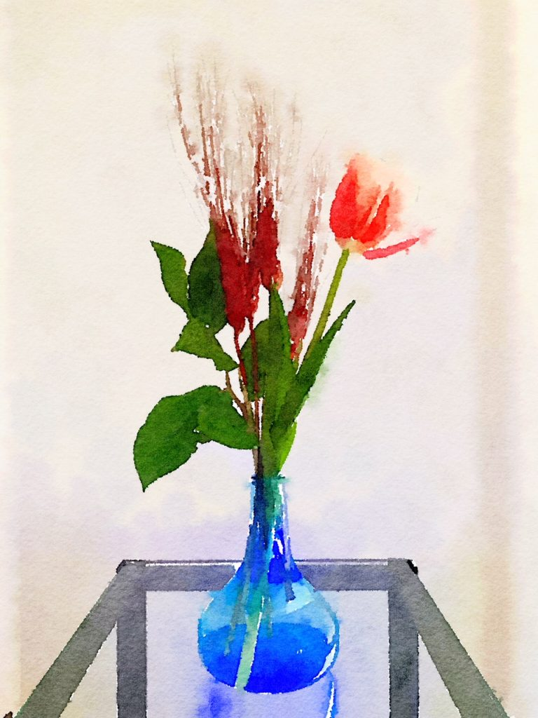 Week Six: Red Tulip and Feathers in a Blue Vase Bouquet