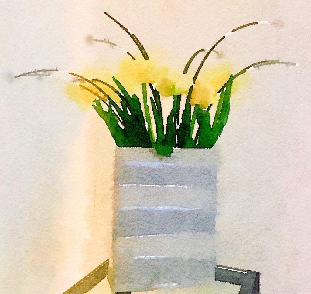 Week Three: Yellow Tulips in a Tall Gray Vase