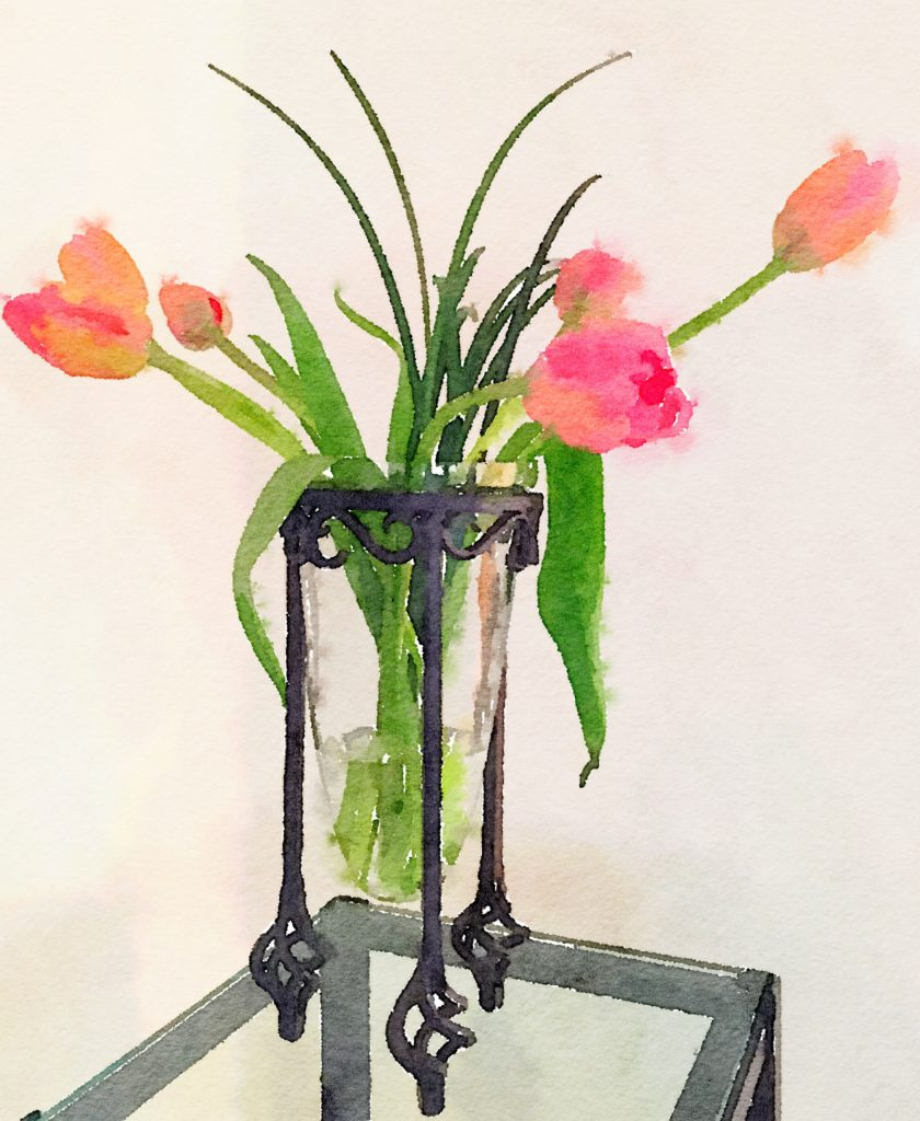 Week Two: Pink Tulips in an Iron-Stand Vase