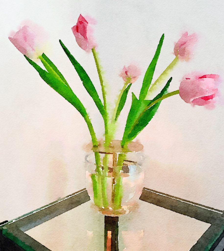 Ikebana Vase Waterlogue Tulips in Color Bloom Mode