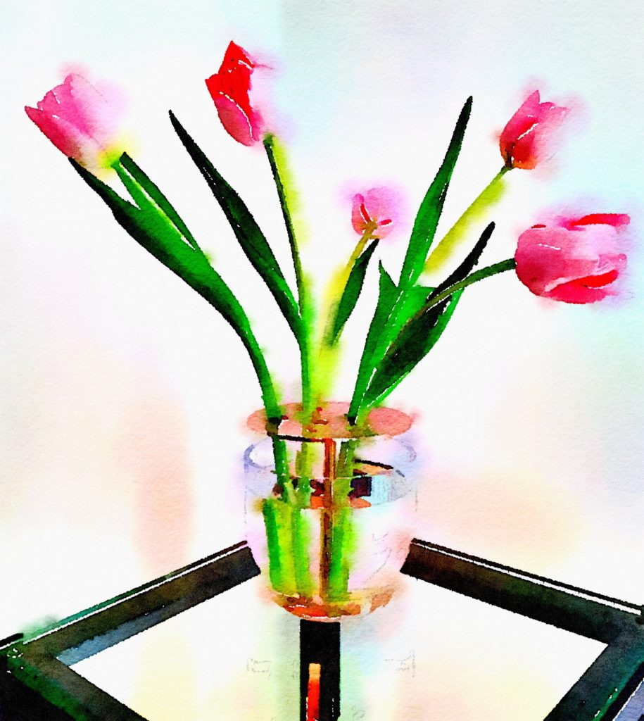 Ikebana Vase Waterlogue Tulips in Bold Mode