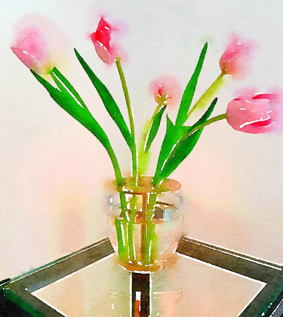 Ikebana Vase Waterlogue Tulips in Color Bloom Mode