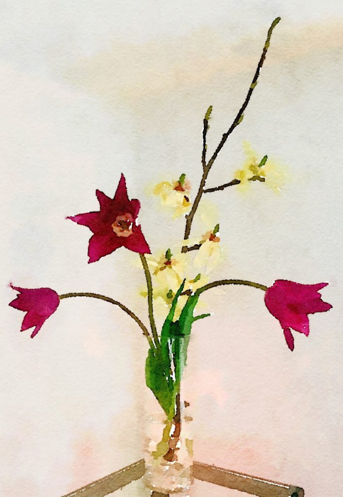 Week Nine: Three Tulips and Magnolia Branch