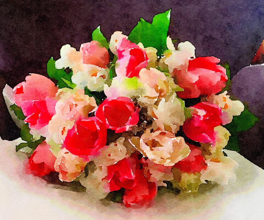 Week Ten: Fresh Pike Place Market Flowers in Waterlogue