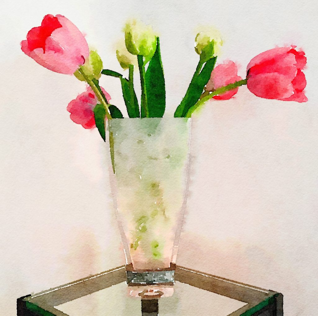 Week Ten: Red and White Ruffly Tulips in a Sculpted-Glass Vase