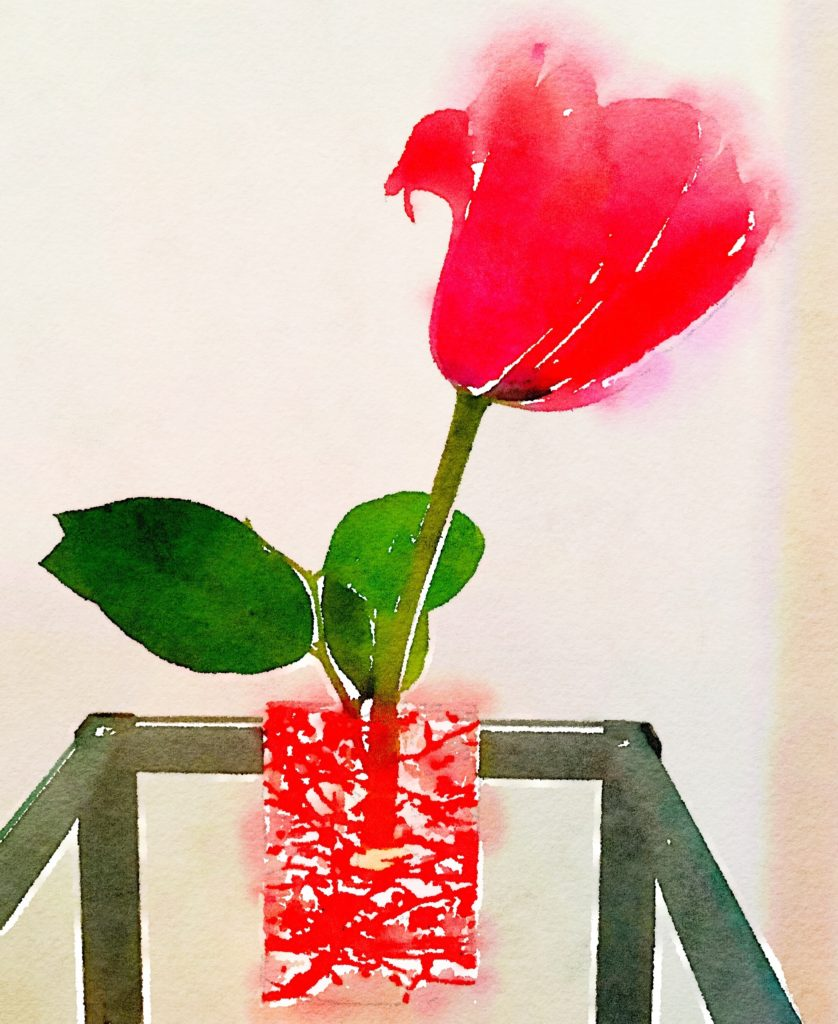 Week Ten: Single Red Tulip in a Red in a Red-and-Clear-Glass Vase