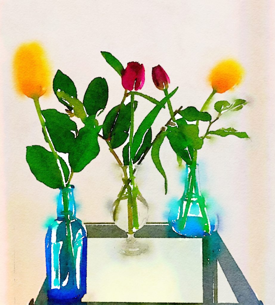 Week Eight: Three Small Vases with Tulips