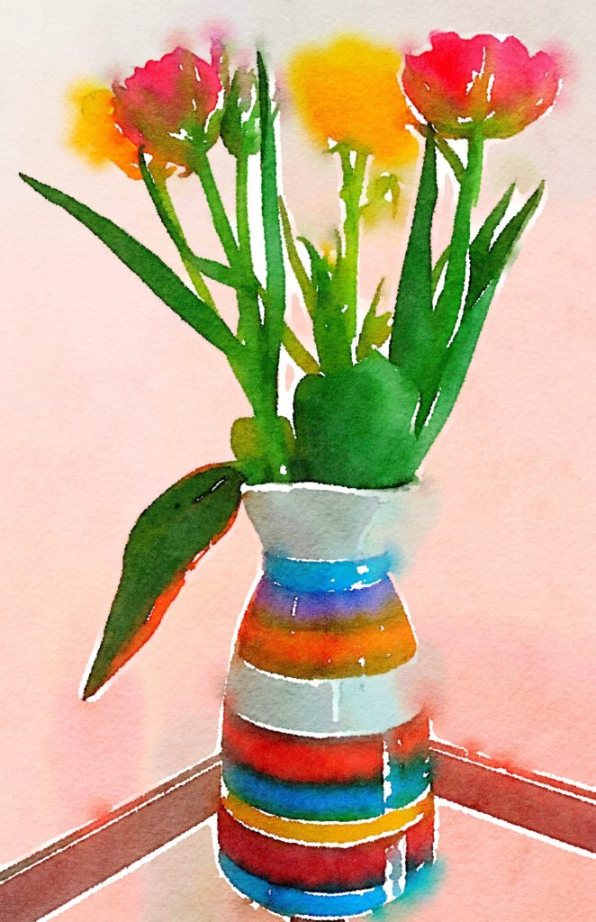 Week Fifteen: A Bevy of Tulips in a Multicolor Vase