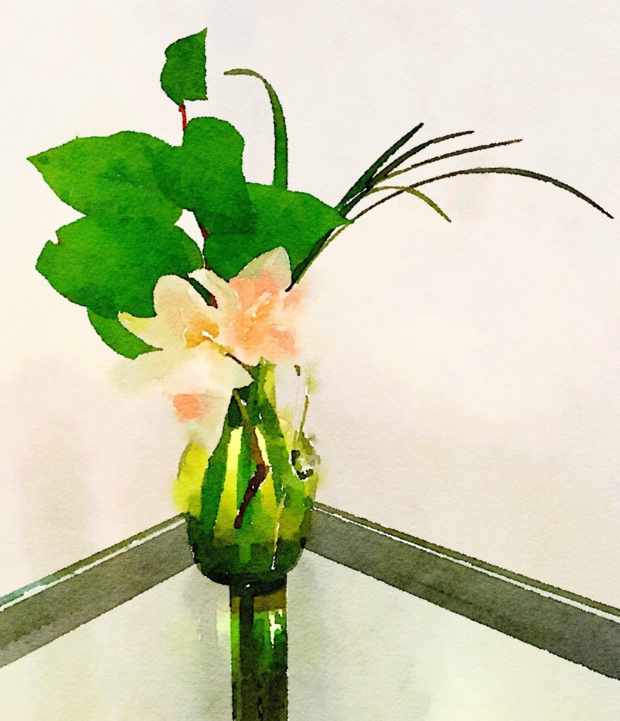 Week Fifteen: Pale, Ruffly Daffodils, Greenery, and Bear Grass in a Green Vase