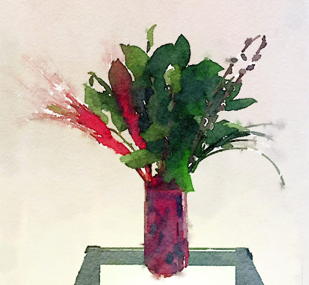 Week Fourteen: Red Feathers, Greenery, and Pussy Willows in Burgundy and Black Vase
