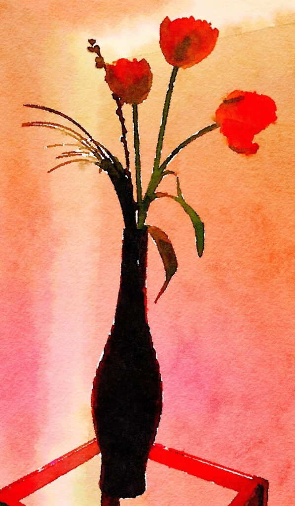 Week Fourteen: Three Red Tulips in a Black Vase
