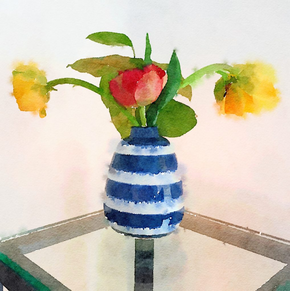 Week Thirteen: Blue-and-White Striped Vase with Yellow and Orange Tulips