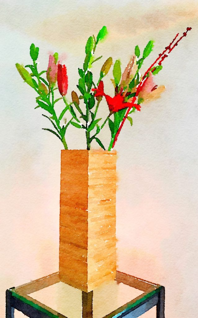 Week Thirteen: Tall Bamboo Vase with Four Asian Lilies and Red Branches