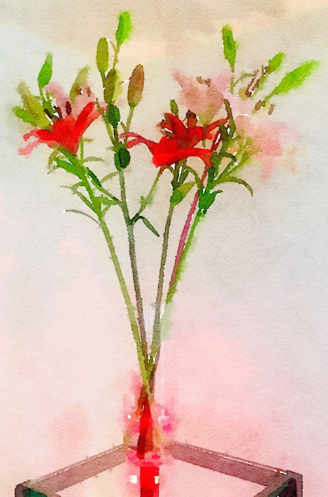 Week Thirteen: Three Lilies in a Clear Glass Vase with a Red Branch