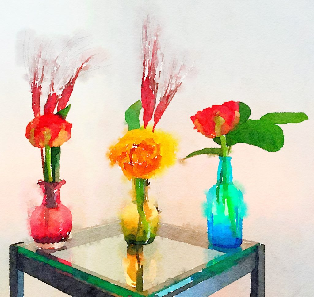 Week Thirteen: Three Small Vases with Fiery Reddish-Orange and Yellow Tulips