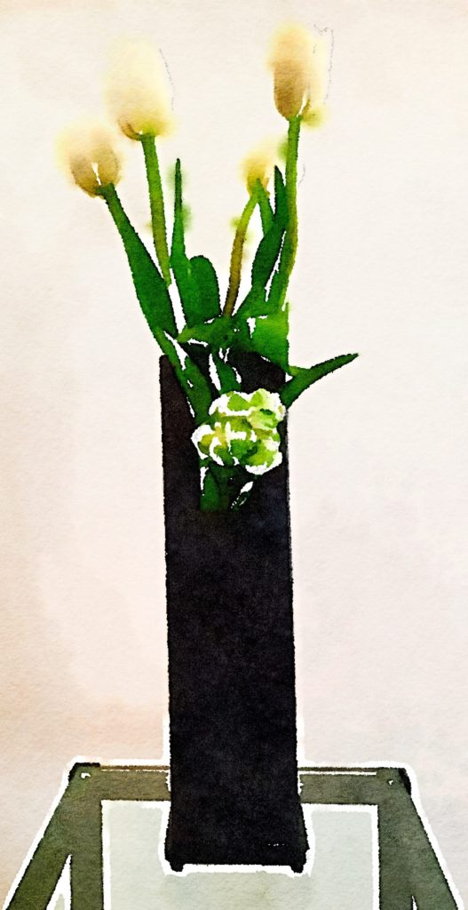 Week Eleven: Tall Black Vase With Five White Tulips