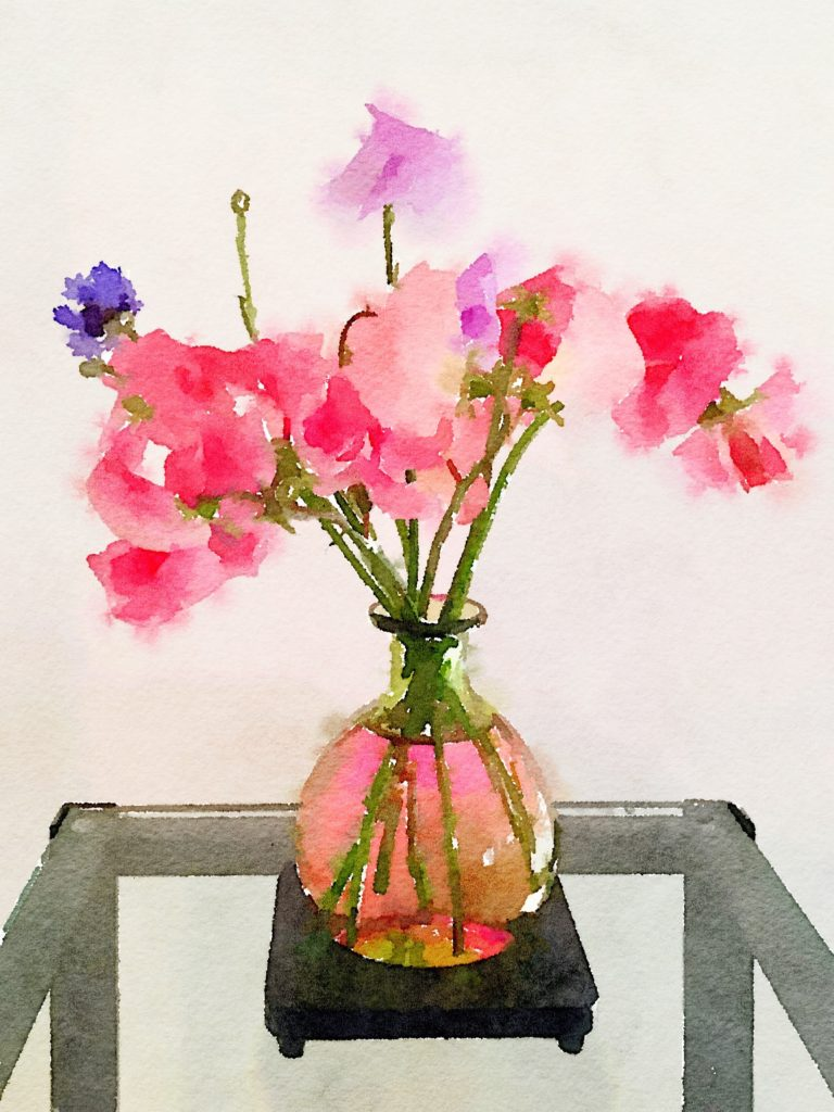Week Eighteen: Sweet Peas in a Clear Green Vase