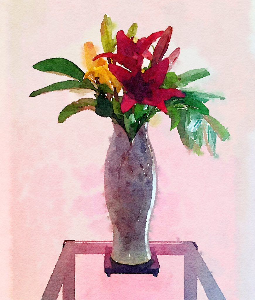 Week Nineteen: Asiatic Lilies in a Purple Ceramic Vase