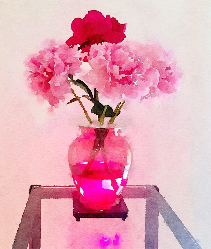 Week Nineteen: Five Pink Peonies in a Clear Amethyst Vase