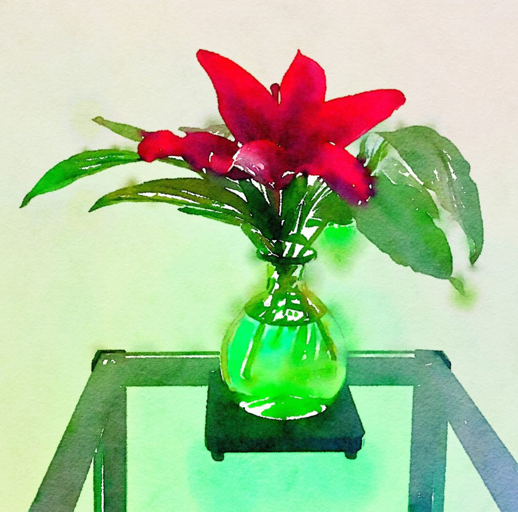 Week Nineteen: Single Crimson Lily in a Green Glass Vase