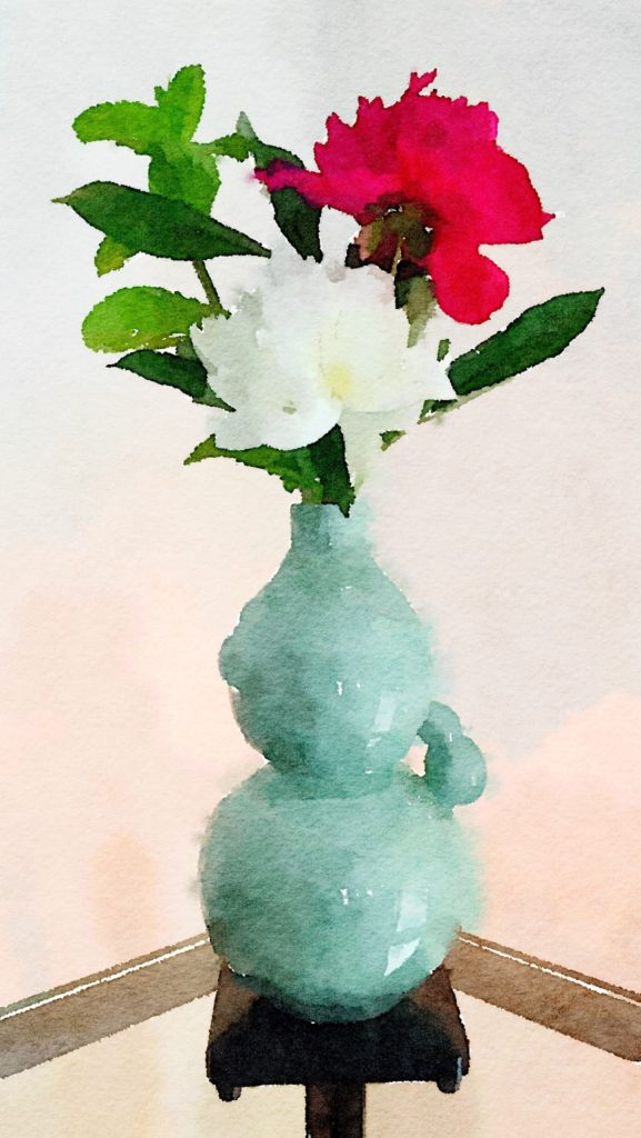 Week Seventeen: A Single White and Pink Peony in Celadon Asian Vase