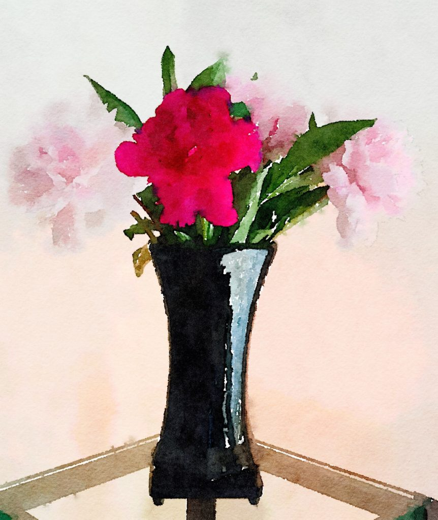 Week Seventeen: Pale Pink and Dark Pink Peonies in a Black Lacquer Vase