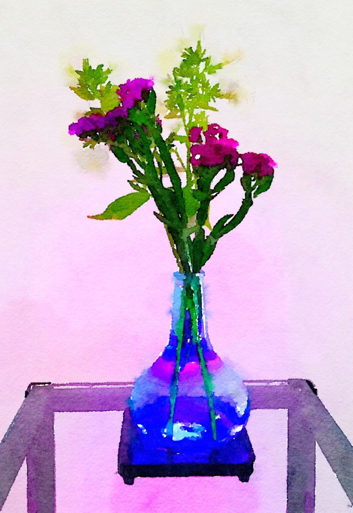 Week Twenty: Golden Arrow and Purple Flowers in Blue Buddha Vase