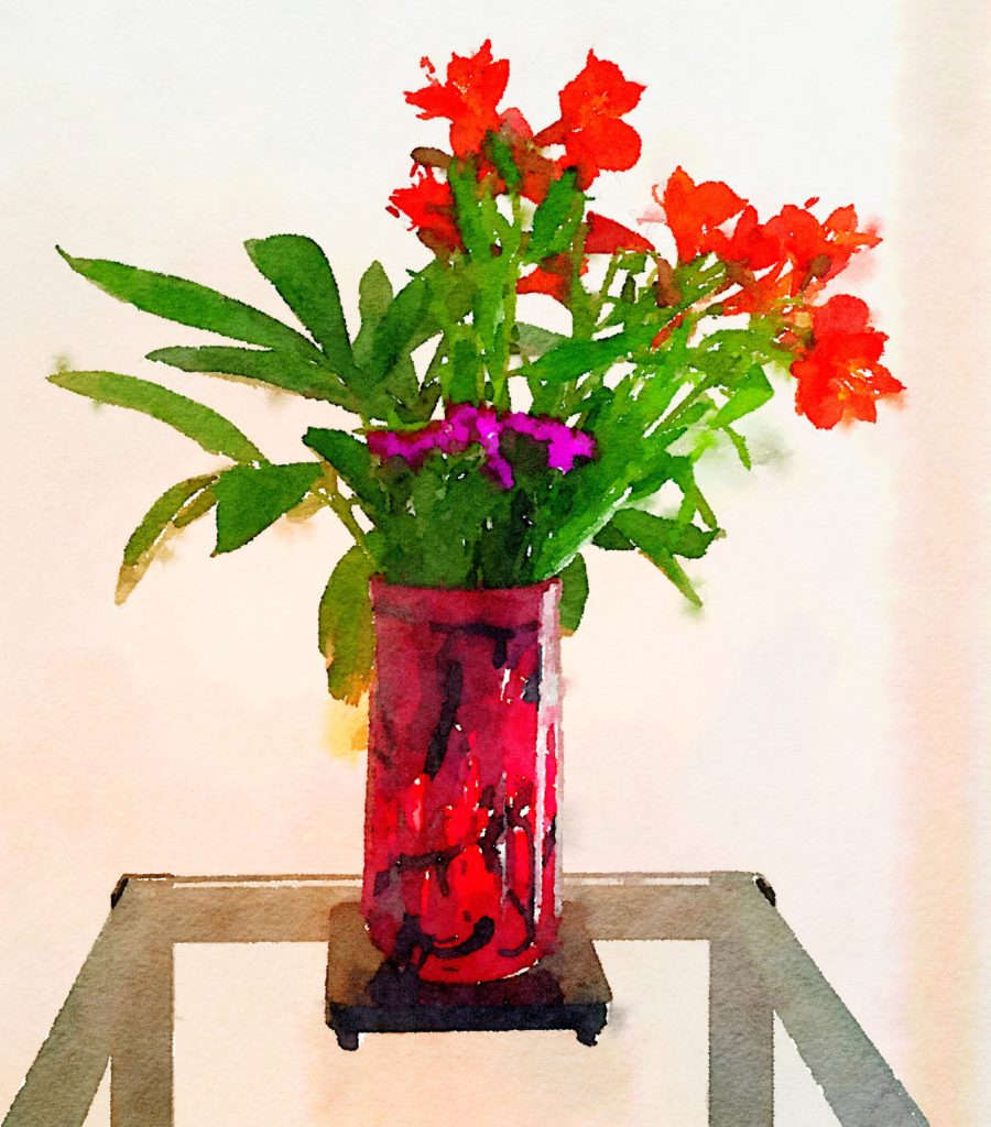 Week Twenty: Orange Canna Lilies in Mottled Burgundy Vase
