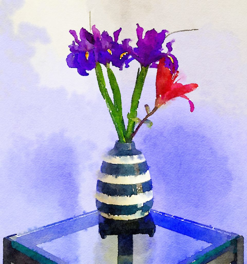 Week Twenty-Four: Purple Irises and Single Crimson Lily in Striped Vase