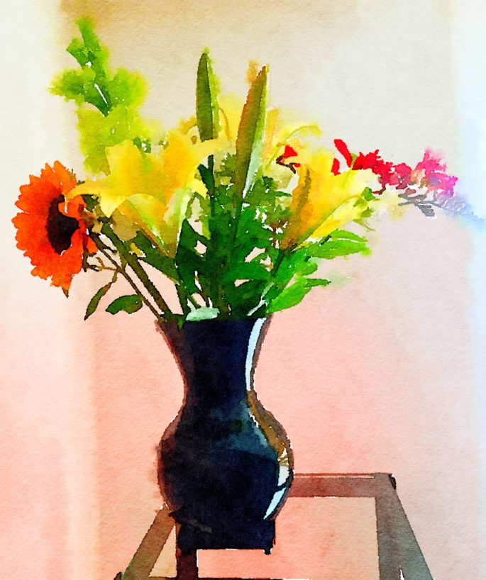 Week Twenty-Five: Yellow Lilies, Gladiola, Sunflower, and Kangaroo Paw in Glossy Black Vase