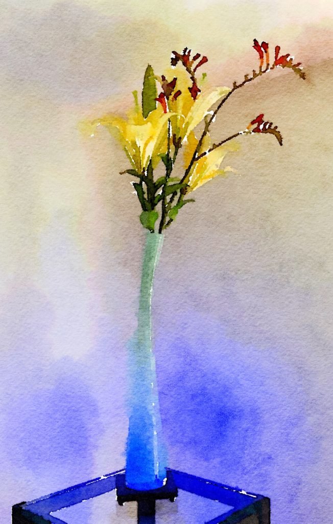 Bouquet-a-Week Project Week Twenty-Five: Yellow Lilies and Kangaroo Paw in Swooping Pale-Blue Vase