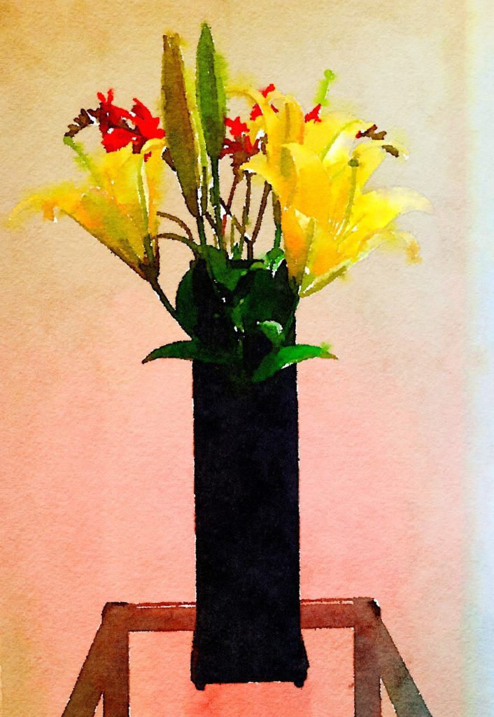 Bouquet-a-Week Project Week Twenty-Five: Yellow Lilies and Kangaroo Paw in Tall Matte-Black Vase