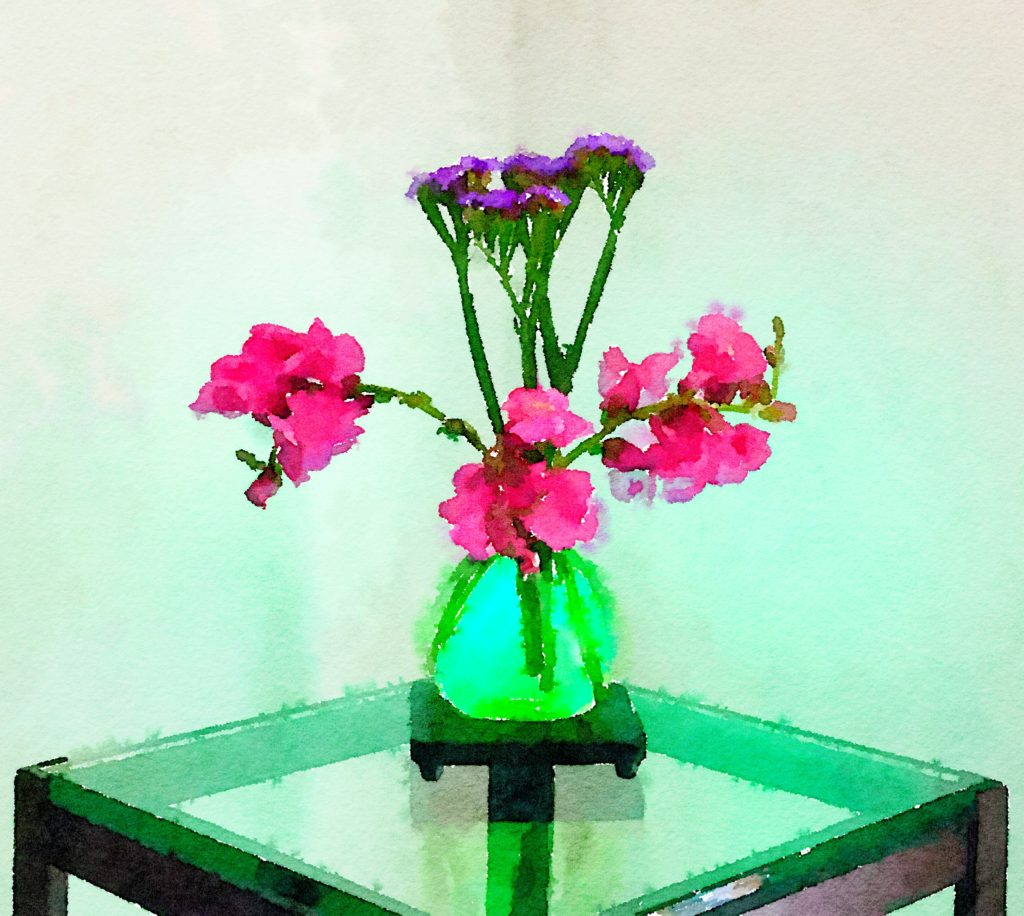 Week Twenty Four: Purple Snapdragons in a Green Glass Vase