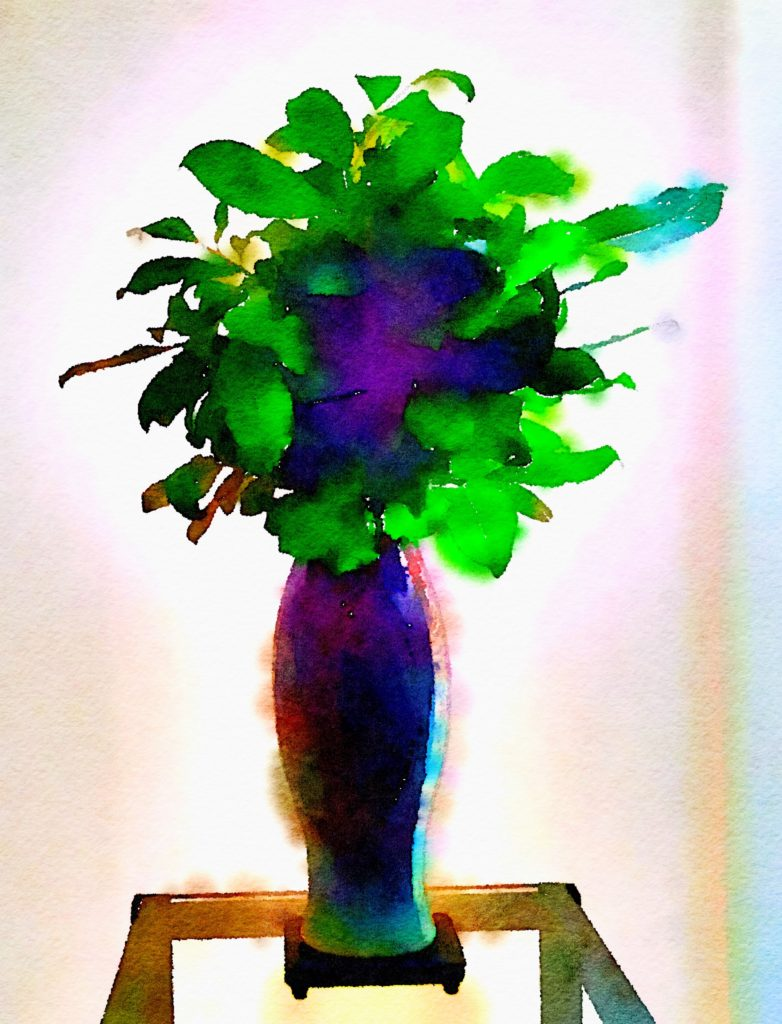 Week Twenty-Three: Greenery Alone in a Lilac Ceramic Vase