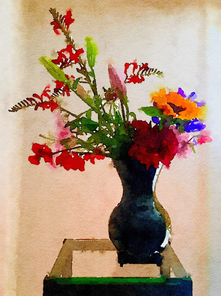Week Twenty-Three: Major Bouquet in Dramatic Black Glossy Vase