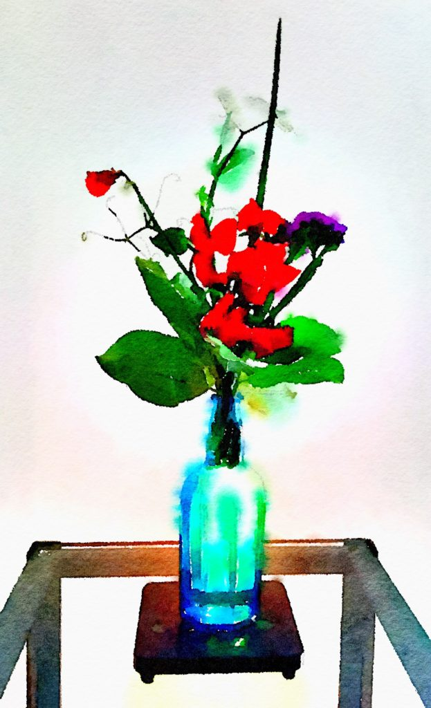 Week Twenty-Three: Red Sweet Peas in a Blue Vase