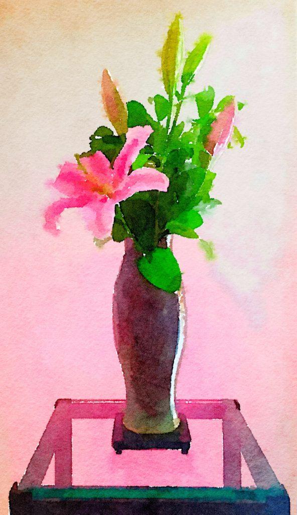 Week Twenty-Three: Single Pink Lily in Lilac Ceramic Vase