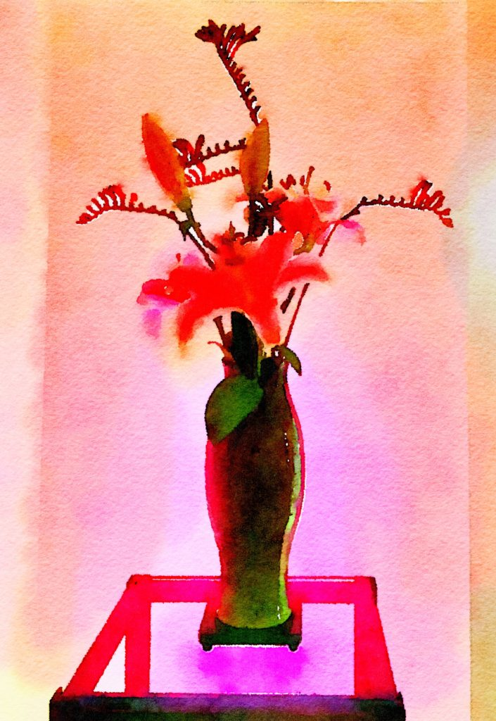 Bouquet-a-Week Project Week Twenty-Five: Yellow Lilies and Kangaroo Paws in Violet Ceramic Vase