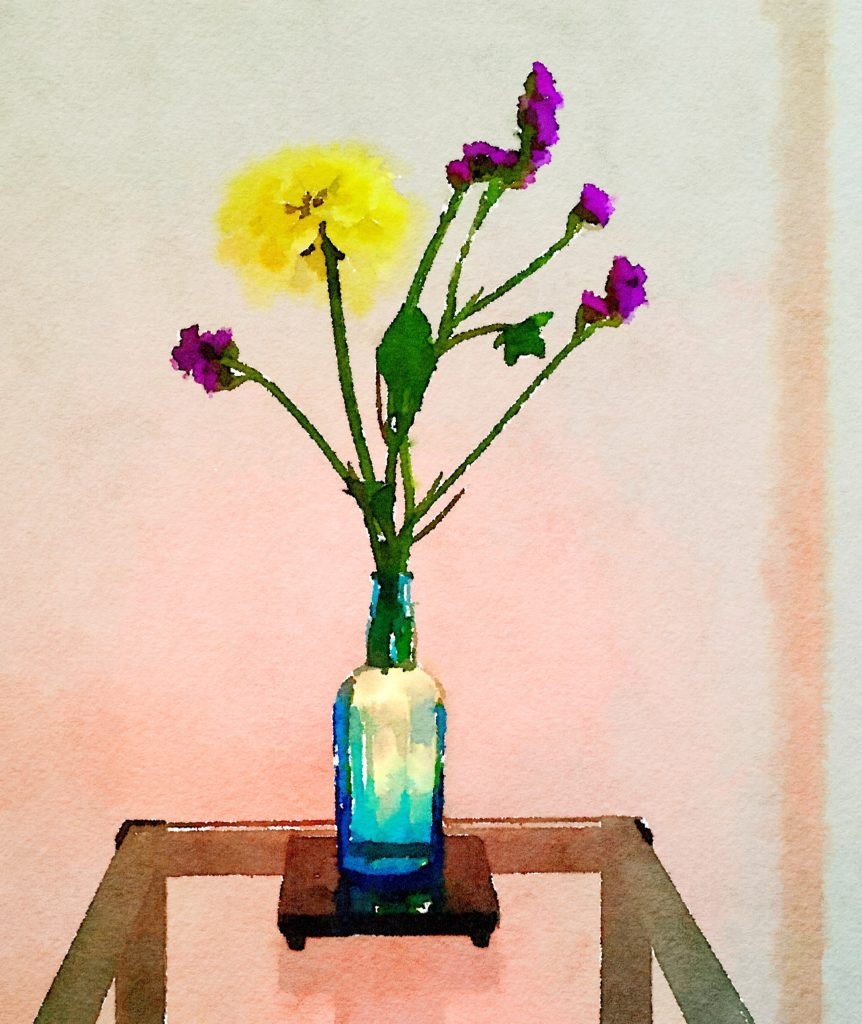 Braiden Blossoms Week Thirty-One: Single Yellow Dahlia and Dried Purple Flowers in a Blue Vase