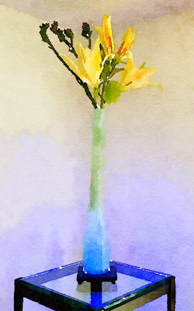 Braiden Blossoms Week Thirty-One: Single Yellow Lily in a Tall Blue Vase