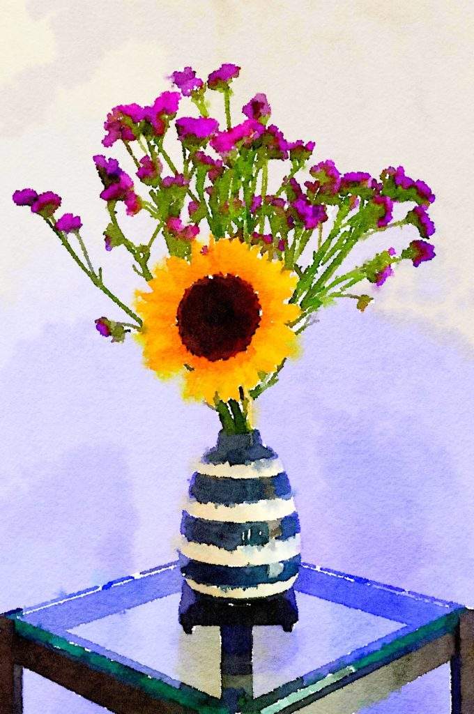 Braiden Blossoms Week Thirty-One: Single Yellow Sunflower and Purple Flowers in a Striped Vase à la Van Gogh
