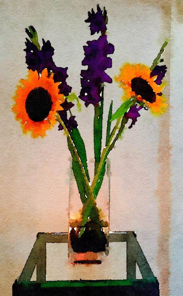 Braiden Blossoms Week Thirty-One: Two Sunflowers and Three Purple Gladiolas in a Clear Rectangular Vase