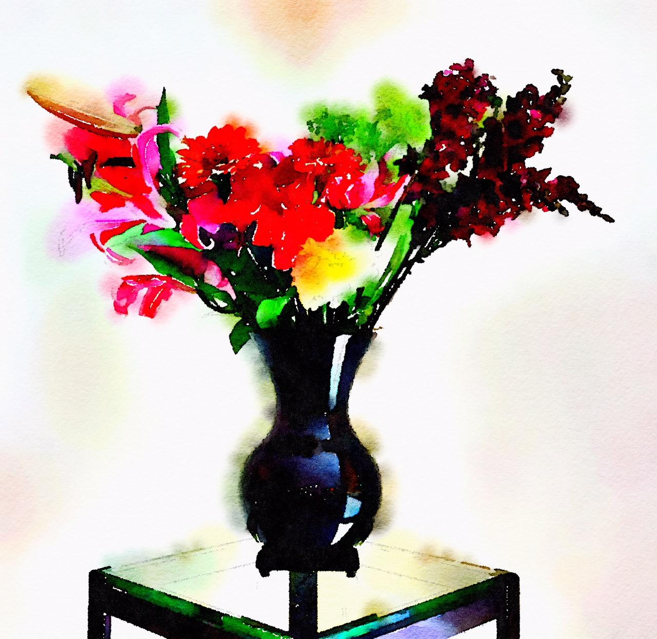 Braiden Blossoms Week Twenty-Eight: Fresh Pike Place Market Flowers Painted in Waterlogue Bold Mode