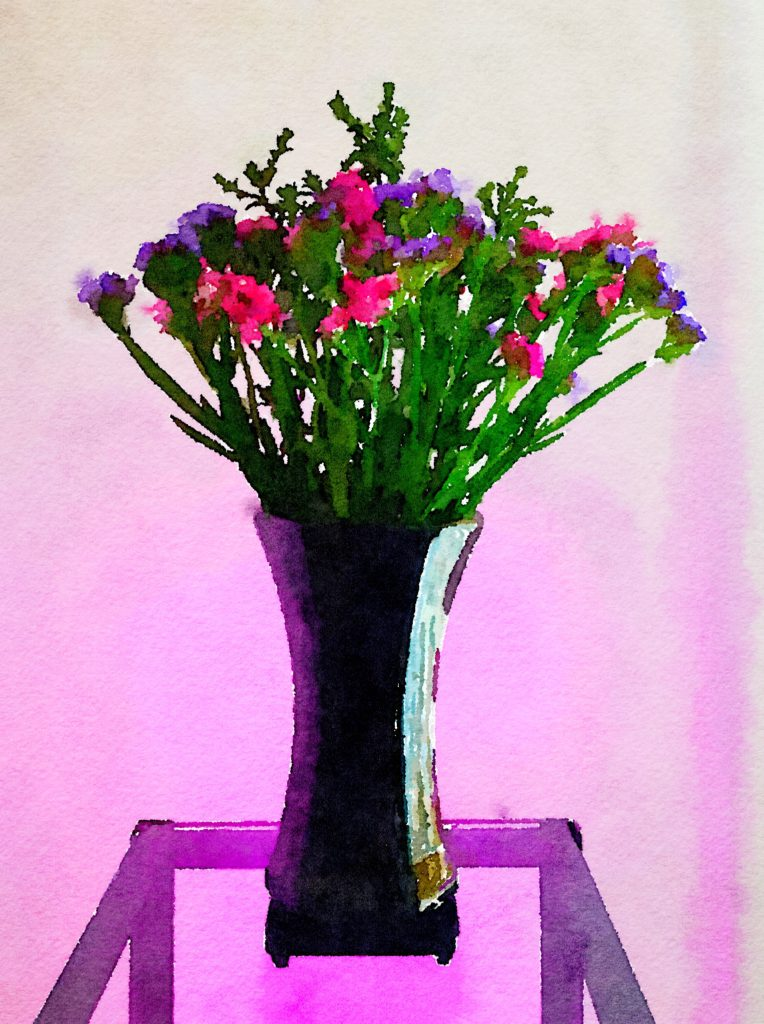 Braiden Blossoms Week Twenty-Nine: Dried Pink and Purple Flowers in Black Lacquer Vase